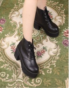 Rough Heeled Lace ups Locomitive Short Boots Built in Paltform on BuyTrends.com, only price $24.31