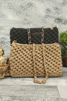 Τσαντάκι χειροποίητο πλεκτό 'Elpiniki' Μπεζ Womens Purses, Straw Bag, Bags, Fashion, Handbags, Moda, Dime Bags, Fasion, Totes
