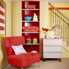 Sense of Scale -  Ceiling-height bookshelves in your basement can house more than literary works; using shelves is a simple way to keep frequently used items within reach. Use a small tool cart to counterbalance the bookshelf's height and to store extra belongings.