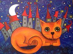 El gato naranja Técnica mixta. Más en mi Facebook http://www.facebook.com/cuadritos.decolores.7