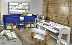Que tal este projeto deDormitório Infantil, estilo Casual, feitoespecialmente (♥) para o pessoal daMeu Móvel de Madeira? Cheio de sacadas divertidas, o quarto tem cama elevada o que permite encaixar sob ela baús de brinquedos. Futons e almofadas no chão formam o cenário ideal para ver tv e jogar videogame, …