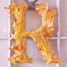 DIY::Fall Leaf Initial - - @Jane Strickland Bognar, you could do this with leaves from your wedding!
