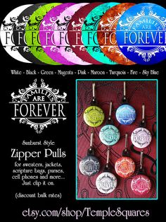 Zipper Pulls - Families Are Forever - LDS Gifts - 2014 Primary Theme - Girls Camp and more on Etsy, $1.00