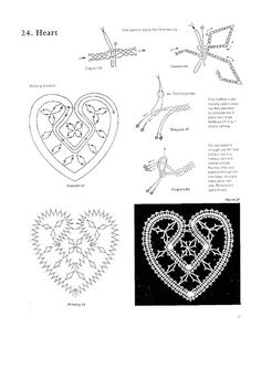100 New Bbbin Lace Patterns Hairpin Lace Crochet, Bruges Lace, Bobbin Lacemaking, Bobbin Lace Patterns, Lace Heart, Point Lace, Heart Crafts, Lace Jewelry, Crochet Diagram