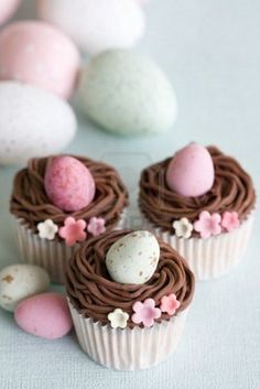 use with mini cupcakes and cadbury eggs. fill pastry bag with dark chocolate and milk chocolate or caramel frosting for two tones nest look. too cute! easter