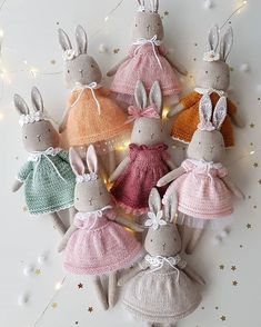 UPDATE In mint dress bunny is sold. Thank you all so much for your overwhelming love for these little bunnies! There are only 2 Fabric Toys, Fabric Crafts, Sewing Crafts, Sewing Projects, Diy Crafts, Tiny Dolls, Soft Dolls, Cute Dolls, Softies