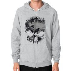 Skull, Trees and Crow Wicked Grunge Design Zip Hoodie (on man)