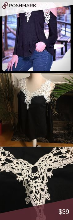 Open shoulders long sleeves top with lace V neck Tops Tees - Short Sleeve