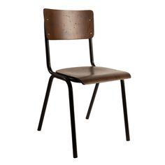 Stuhl Scuola im Old School Look Flamingo Royale, Bar Chairs, Bar Stools, Dining Chairs, Dining Room, Innovation Living, School Chairs, School Looks, Kitchen Worktop, Dark Wood
