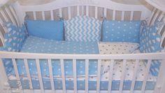 """Для новорожденных, ручной работы. Ярмарка Мастеров - ручная работа. Купить Бортики в кроватку """"Облака"""". Handmade. Голубой, подарок новорожденным"""