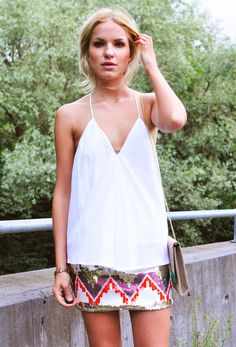 white flow tank + tribal print bandeau skirt