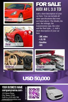 Car For Sale Flyer Pinjonatagiorgini On Flyer  Pinterest