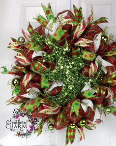 ... Deco Mesh CHRISTMAS Wreath For Door or Wall Red Lime Green Christmas