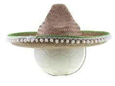 """Football with Sombrero Isolated on White Background - 24""""W x 18""""H - Peel and Stick Wall Decal by Wallmonkeys"""