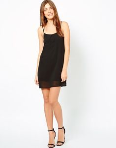 Club L Woven Cami Dress in Black Scoop Neckline UK 8 at ASOS RRP £20.00