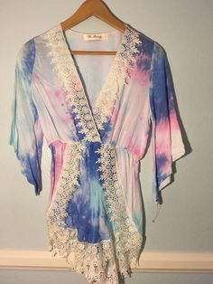 9ba808d03eef Pastel Tie Dye Lace Jumper Romper One Piece Size Small  fashion  clothing   shoes