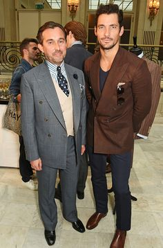 /David Gandy and Christopher Modoo Senior Creative at Chester Barrie attend the Chester Barrie presentation during The London Collections Men on. David Gandy Style, David James Gandy, Chester Barrie, Summer Collection, Pretty Boys, Suit Jacket, Guys, Celebrities, Jackets