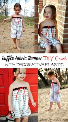 Make a cute ruffle fabric romper and add decorative elastic to the top edge instead of encased elastic. Check out this quick tutorial on DIY Crush.