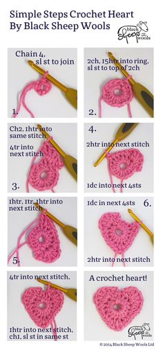 How to crochet a heart - Step by step guide - Knit and Stitch Blog ✿⊱╮Teresa Restegui http://www.pinterest.com/teretegui/✿⊱╮
