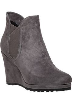 Vaneli for Jildor - Jara Grey Suede Wedge Bootie Wedge Bootie, Wide Width Shoes, Passion For Fashion, Wedges, Booty, Zip, Grey, Closet, Gray