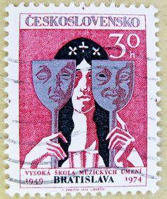 great czech stamp Czechoslovakia 30 H Ceskoslovensko Bratislava university of art postage 30 h