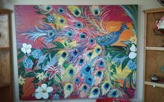 Large peacock painting $1500