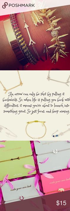 """Stella & Dot Wishing Bracelet- Arrow SOLD OUT Arrow wishing bracelet. BRAND NEW IN PACKAGE. Adjustable 6""""-9"""". Fits small-large wrists. Stella & Dot Jewelry Bracelets"""