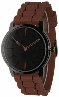 New Geneva Brown w/ Black Silicone Watch Geneva. $12.73. Style Soft, Bendable, Flexible Band. Unisex Watch. Very fashionable and stylish. Makes a great gift!. Easy Read Numbers. Japan Quartz Movement