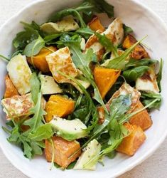 Roasting chunks of sweet potatoes caramelizes them -- they're great to eat all on their own or tossed with crunchy nuts, tangy cheese, and crisp watercress, as in this flavorful salad. A simple lemon-honey vinaigrette ties everything together. Watercress Recipes, Avocado Salad Recipes, Watercress Salad, Haloumi Salad, Feta Salad, Biryani, Korma, Thanksgiving Soups, Southern Style Potato Salad
