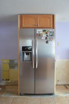 Building a fridge surround -- Plaster & Disaster Refrigerator Cabinet, Built In Refrigerator, Blue Kitchen Cabinets, Kitchen Appliances, Kitchen Island, Cabinets To Ceiling, Cabinet Makeover, Kitchen Design, Kitchen Ideas