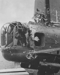 Stirling bomber rear FlaK damage