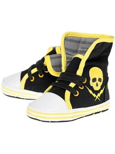 "Kids ""Skull and Bolt"" Sneakers by Sourpuss Clothing (Black)"