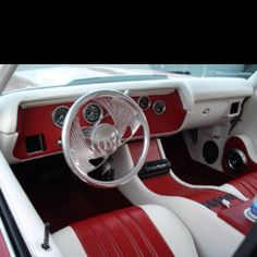 chevelle. #BecauseSS custom interior red white console dash covans