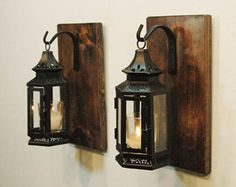 Black Stagecoach lanterns,Farmhouse kitchen decor, livingroom decor, Rustic lantern decor, Wall sconce, Vintage lantern, Bedroom decor, lamp