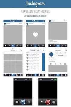 FREE Instagram Complete Vector UI by MarinaD http://marinad.deviantart.com/art/FREE-Instagram-Complete-Vector-UI-405167081