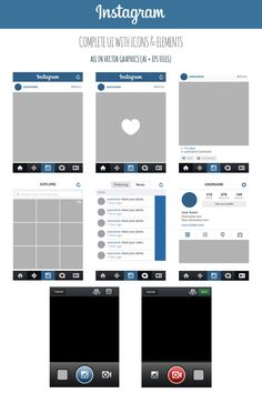 FREE Instagram Complete Vector UI by MarinaD http://marinad.deviantart.com/art/FREE-Instagram-Complete-Vector-UI-405167081