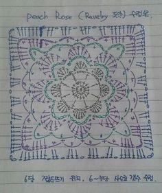 Not the same but very similar – Artofit Crochet Motif Patterns, Granny Square Crochet Pattern, Crochet Blocks, Crochet Diagram, Crochet Chart, Crochet Squares, Crochet Granny, Crochet Stitches, Knit Crochet