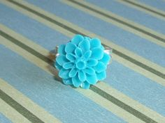 Turquoise Blue Dahlia, Pastel Flower Fun for your Fingers | JanellDunlapJewelryDesigns - Jewelry on ArtFire