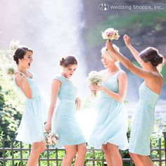Blue lace and chiffon bridesmaid dresses from Wedding Shoppe.