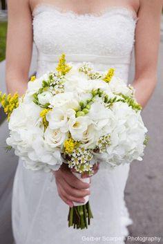 Bride's Bouquet Showcasing: White Hydrangea, White Freesia, White Waxflower, White Ranunculus, Yellow Solidago (Goldenrod)