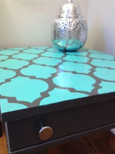 How To Paint and Stencil Furniture. I want to do this to my end tables.