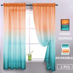 Orange and Green Sheer Curtains 84 Inch 2 Panels Modern Two Tone Window Semi Sheer Bright Color Ombre Curtains for Living Room Bedroom Coral Burnt Orange Yellow Aqua Mint Turquoise Peacock Teal Accent