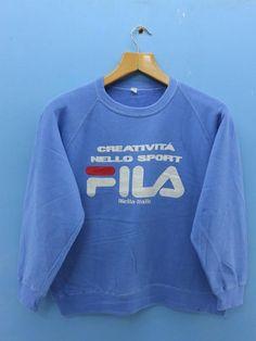 145c6297942 Vintage Fila Big Logo Sport Sweatshirt Hip Hop Street Wear Pull Over Sweatshirt  Size M