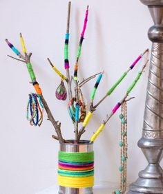 Wrapped Twig Jewelry Holder DIY Craft Pattern from Red Heart Yarns