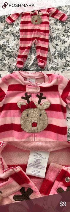 Reindeer Pajamas. Perfect for Christmas! Reindeer Pajamas with footies. Red & Pink stripes. Size 3-6 Months. Little Wonders Pajamas
