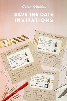 DIY Save the Date invitations with custom calendar stickers - free printables! Glitter Wedding Invitations, Save The Date Invitations, Diy Invitations, Invite, Wedding Paper, Wedding Cards, Diy Wedding, Wedding Ideas, Wedding Wishes