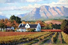 Cape Dutch Wine Farm Canvas Print / Canvas Art by Roelof Rossouw Watercolor Landscape, Landscape Art, Landscape Paintings, Watercolor Wave, Africa Painting, Africa Art, Beautiful Paintings, Beautiful Landscapes, Cape Dutch