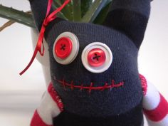 Sock Monster Zombie Named Poe by MaddiesMinions on Etsy