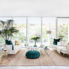 Our hopes and dreams have manifested in the form of tropical, teal velvet and brass accents.  // Design by @mrorlandosoria of #HomepolishLA + photo by @tessaneustadt.