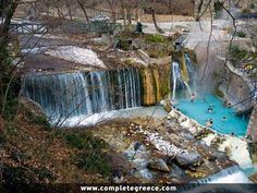 Pozar Thermal Baths- A revitalisation of the senses in the birthplace of Alexander the Great, view from the top ot the hot springs Loutra Pozar , Aridaia Greece. Pella Greece, Thessaloniki, Greece Travel, Hot Springs, Vacation Spots, Scenery, Thermal Baths, Nature, Travel Guide